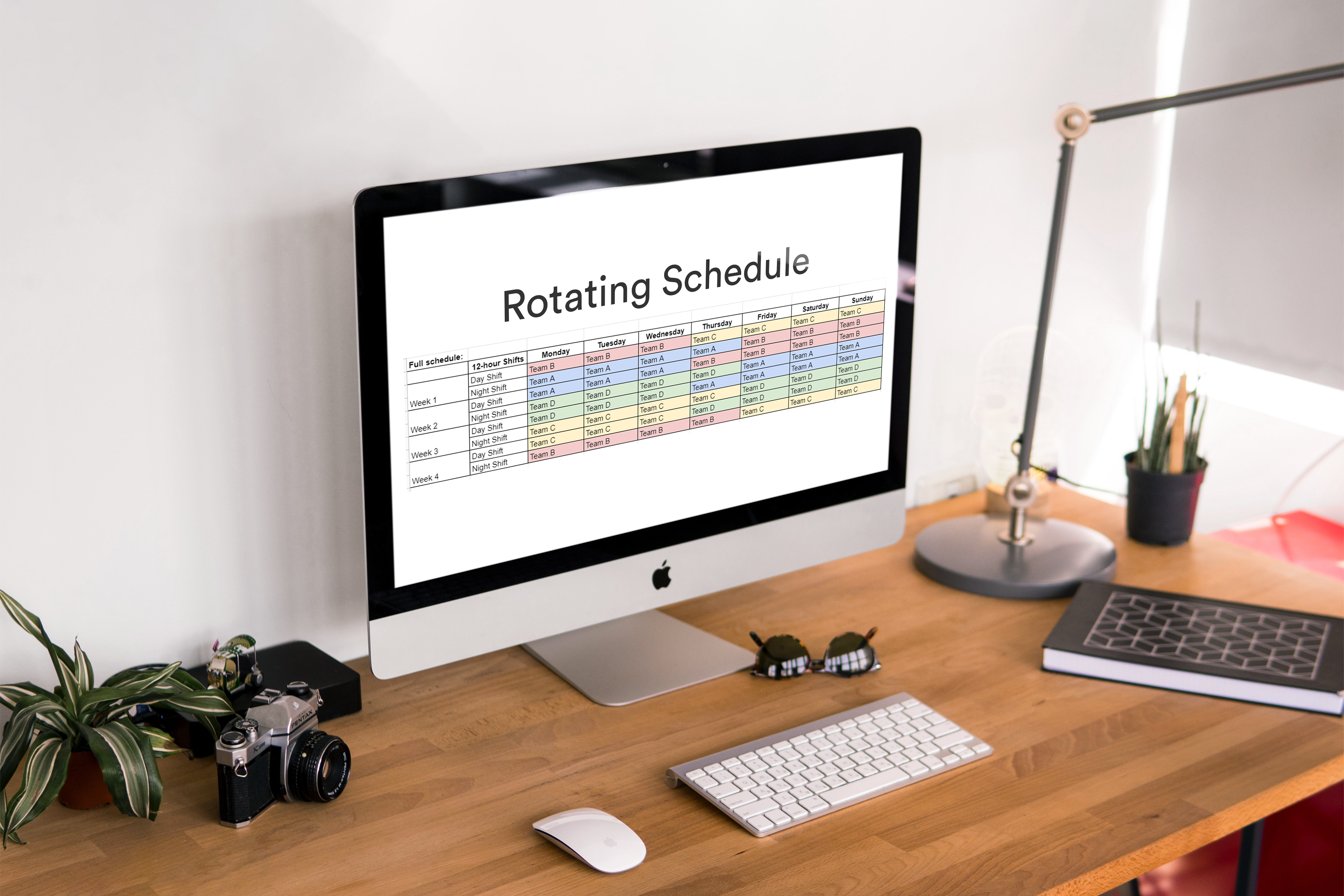 image of rotating schedule on computer screen